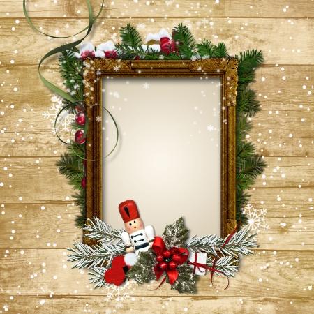 クリスマス フレーム、装飾と木のくるみ割り人形