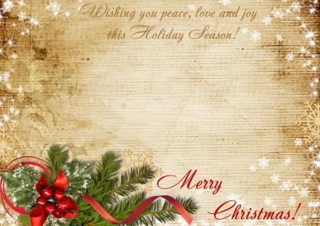 願いとビンテージのクリスマス カード 写真素材
