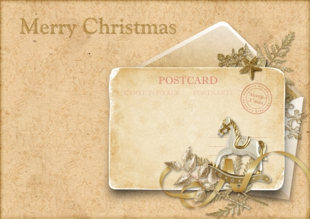 Vintage Christmas card with a decorative horse photo