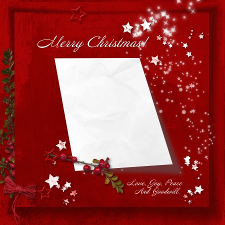 Red Christmas background with space for letters to Santa  photo