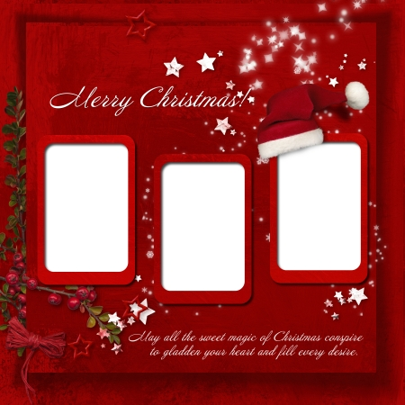 Christmas red background with warm wishes  photo