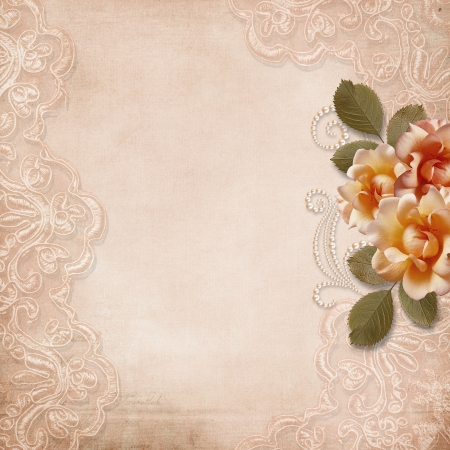 Vintage gorgeous background with lace and roses  Stock Photo