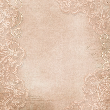 Vintage gorgeous background with lace and pearls