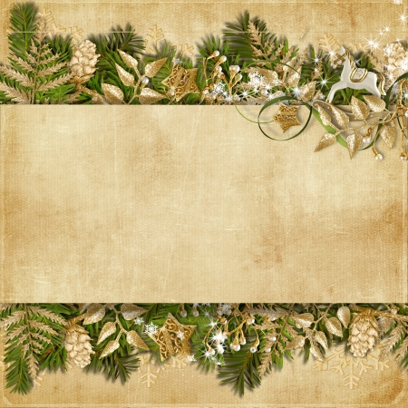 Christmas card with miraculous garland on vintage background  photo
