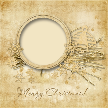yule: Vintage Christmas background with frame decorations