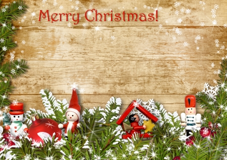 Christmas background with a border of fir branches and decoratio  Christmas background with a border of fir branches decorations  photo
