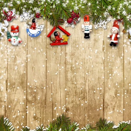 Christmas background with a border of fir branches decorations  Stock Photo