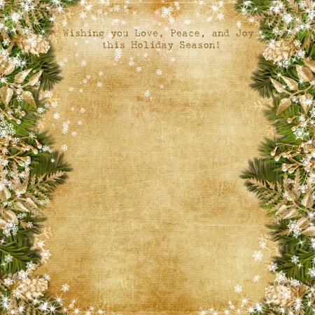 金花のビンテージ背景付きのクリスマス カード