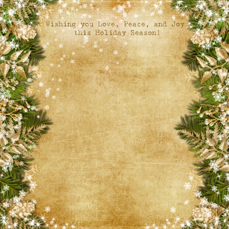 Christmas card with gold garland on vintage background  photo