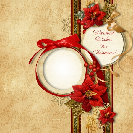 Merry Christmas  vintage card with frame poinsettia  photo