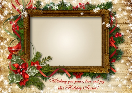 Vintage Christmas card with frame for photo or text
