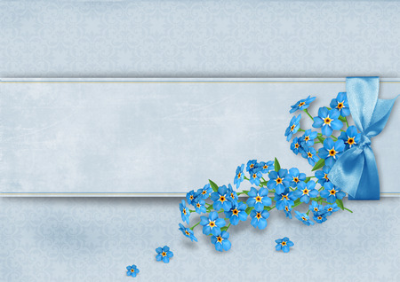 Vintage background with forget-me-not flowers  photo