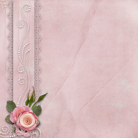 Vintage gorgeous background with lace, roses, pearls Фото со стока - 25690822