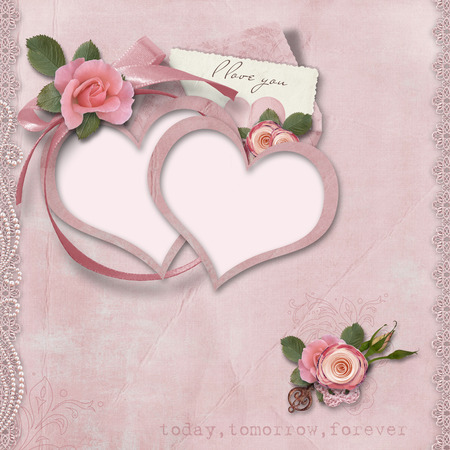 Valentines day card with heart-frames