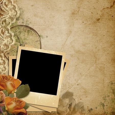 Grunge vintage background with polaroid-frame