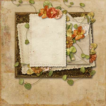crumpled sheet: Vintage background with old card and beautiful flowers