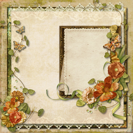 Vintage background with gorgeous flowers with frame for photos  photo