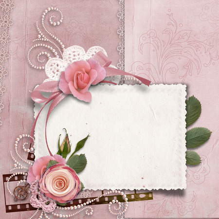 Vintage gorgeous background with card, roses, pearls photo