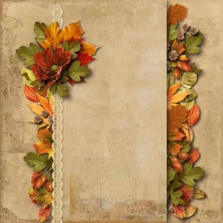 Vintage background with gorgeous border autumn decoration photo