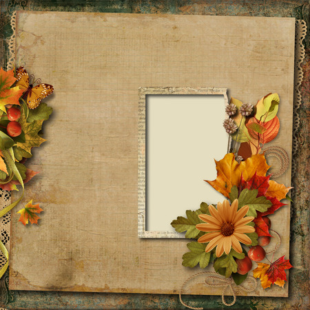 Vintage background with old frame and autumn bouquet  Vintage background with old frame and autumn bouquet Stock Photo