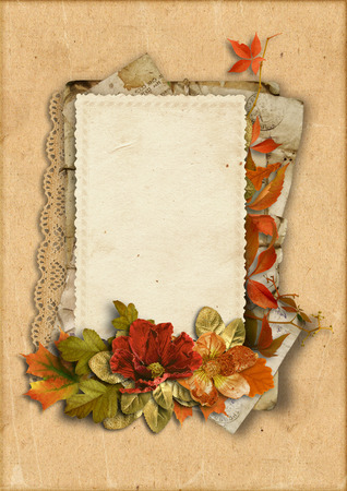 old frames: Vintage card with fine autumn decorations with place for photos