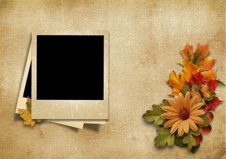 Vintage photo-frame with fine autumn decorations Stock Photo