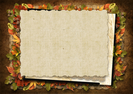Wonderful autumn decoration with the old card on a vintage background photo