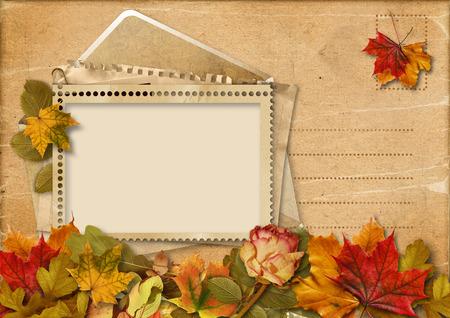 Vintage autumn beautiful card photo