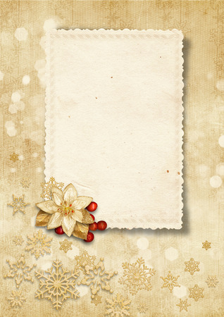 Christmas vintage background with old card Stock Photo