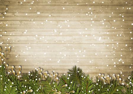 Christmas vyntage framework on wooden background Standard-Bild