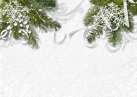 Christmas white background with fir branches photo