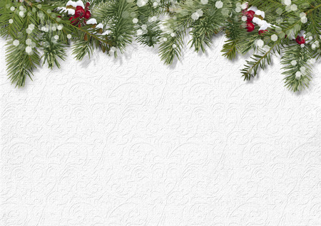 retro christmas: Christmas background with holly,firtree Stock Photo