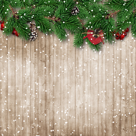 Christmas fir tree on snowy wooden background photo