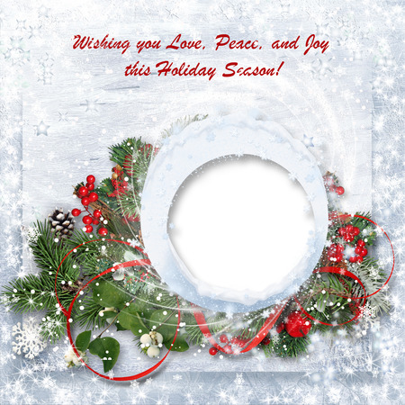Christmas background with branches, holly and wishes photo