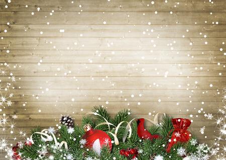 雪、ホリー、firtree 枢機卿とヴィンテージのウッド テクスチャ。クリスマス