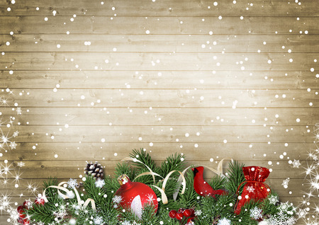 Vintage wood texture with snow, holly,firtree, cardinal.Christmas
