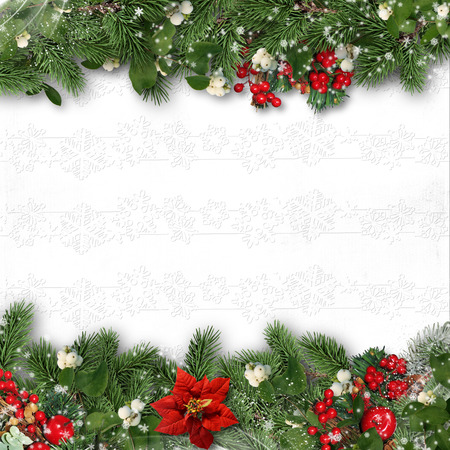 christmas tree decoration: Christmas border on white background with holly,firtree,v?scum.