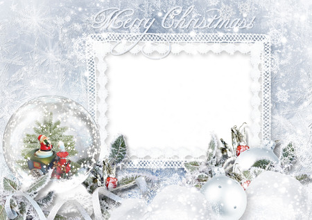 Greeting Card with Xmas Snow globe on frost background Standard-Bild
