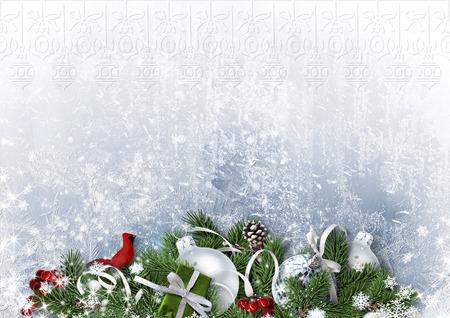 クリスマス ボールとモミの木ホワイト ペーパーのグリーティング カード