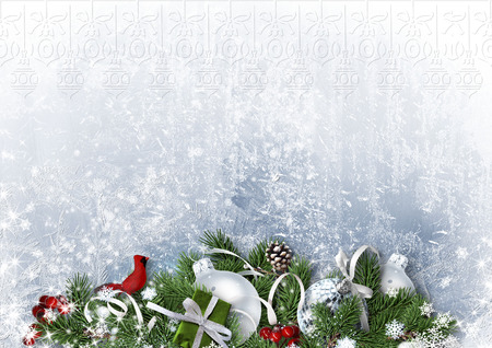 Greeting Card with Christmas balls and fir-tree on white paper Standard-Bild