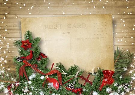 ヴィンテージのクリスマス背景に古い絵はがき、firtree