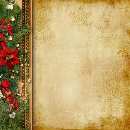 ヴィンテージのクリスマス背景にホリー、firtree 写真素材