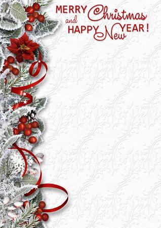 クリスマス雪枝、ホリーと白い背景の境界線 写真素材