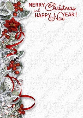 Christmas border on white background with snowy branches,holly