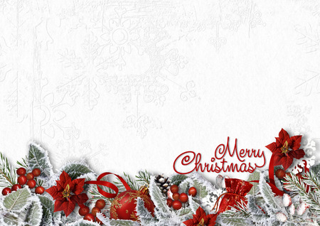 Christmas border on white background with snowy branches,gift Christmas border on white background with snowy branches,gift