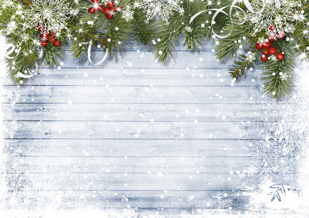 Vintage wood texture with snow, holly and firtree