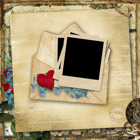 Vintage background with old love card Stock Photo