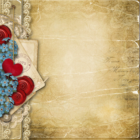 roses and hearts: Vintage love background with heart and flowers Stock Photo