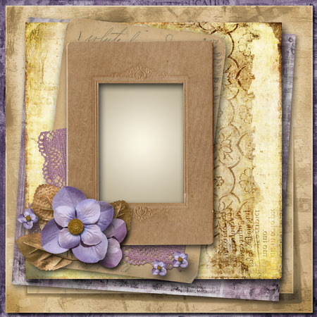 Vintage background with flowers and old frame Stock Photo