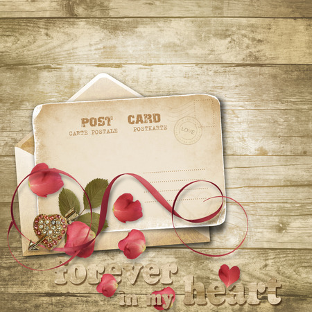 Wooden vintage background with valentines card. photo
